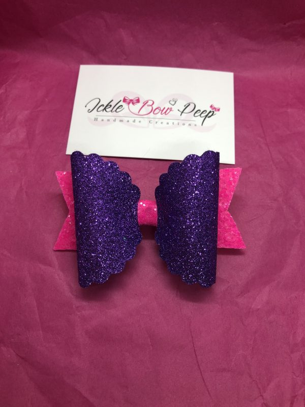 Purple and Pink Glitter Large Scalloped Bow