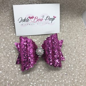 Dark Pink Glitter Scalloped Large Bow