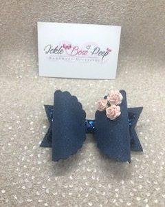 Navy Glitter and Suede with Flowers Large Scalloped Bow