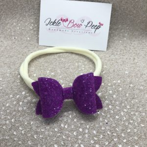 Purple Glitter Medium Bow Nylon Headband