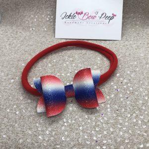 Red, Blue and White Glitter Stripes Medium Bow on Nylon Headband