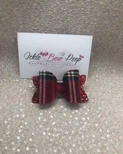 Red Tartan and Glitter Medium Bow