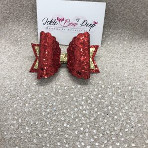 Red and Gold Glitter Scalloped Large Bow