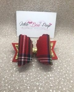 Tartan and Gold Glitter Large Scalloped Bow