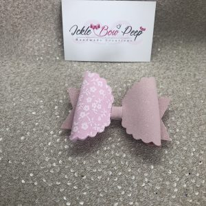 Pink Flowers and Glitter Suede Large Scalloped Bow
