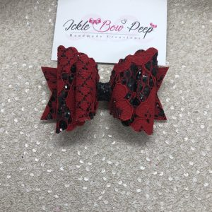 Red Lace and Black Glitter Scalloped Large Bow