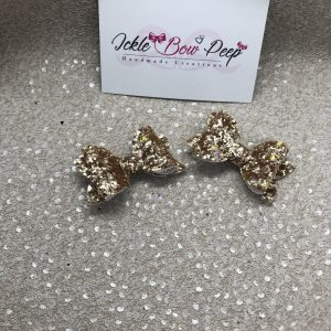 Gold Glitter Small Bow (Pair)