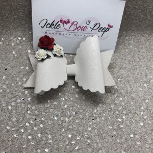 White Glitter Suede and Flowers Large Scalloped Bow