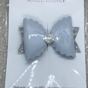 Blue and Silver Glitter Large Scalloped Bow