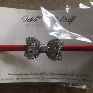 Silver Glitter Bow and Red Headband