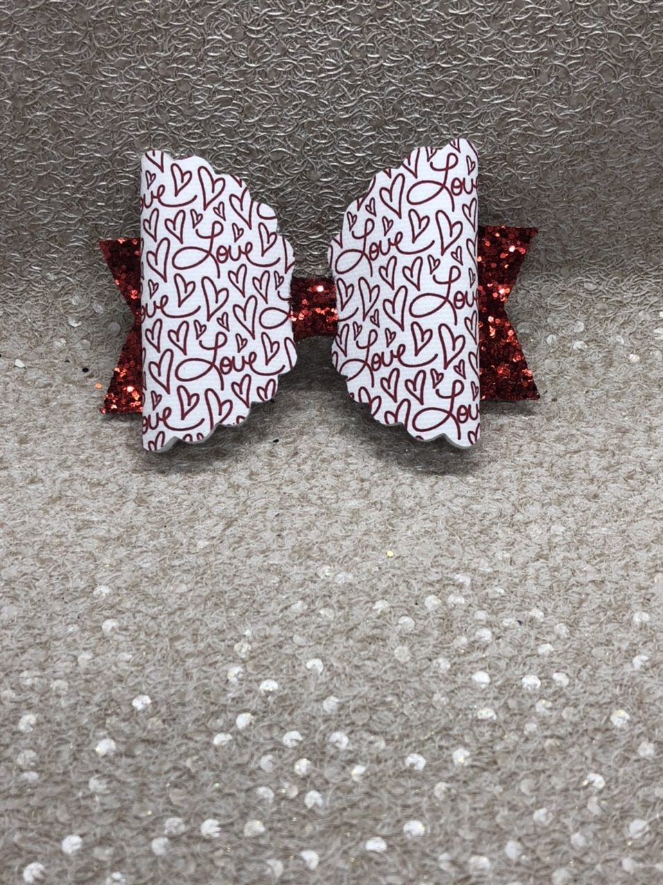 Love Red Large Scalloped Bow