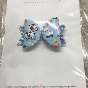 Animals and Blue Glitter Medium Scalloped Bow
