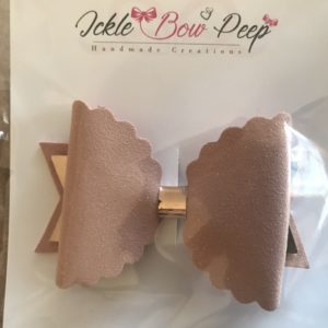 Rose Gold Suede and Mirror Large Scalloped Bow