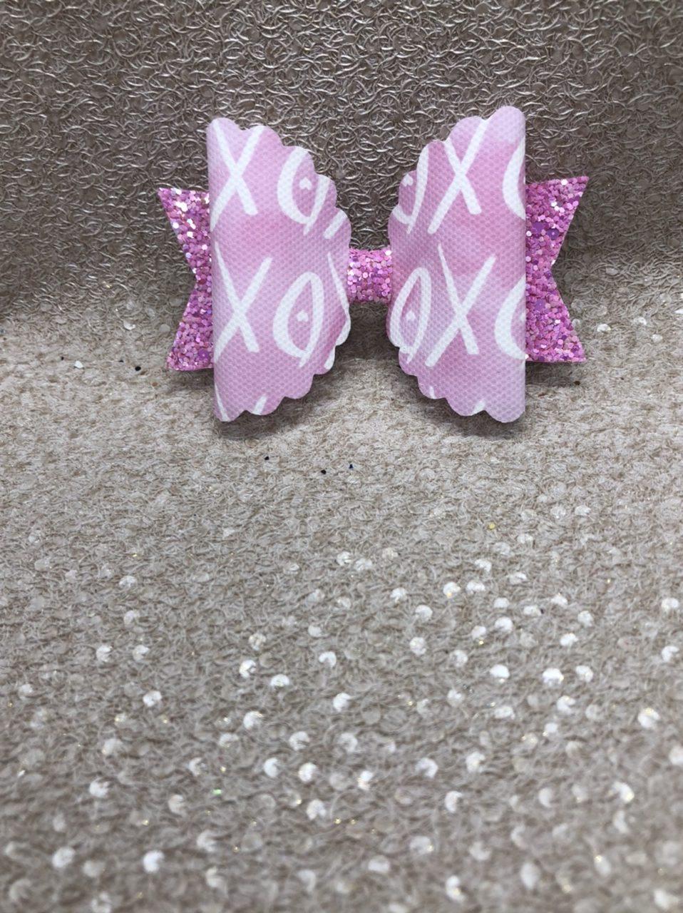 Pink XoXo Scalloped Large Bow
