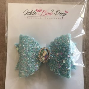 Blue Glitter Large Scalloped Bow