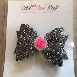 Black Glitter With Pink Flower Large Scalloped Bow