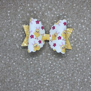 Easter Chick Large Scalloped Bow