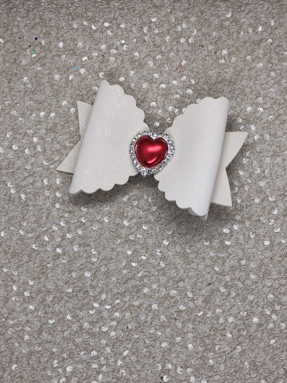 White Glitter Suede and Red Heart Large Scalloped Bow