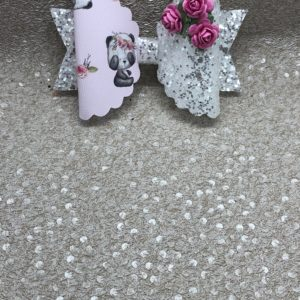 Panda and Flowers Large Scalloped Bow