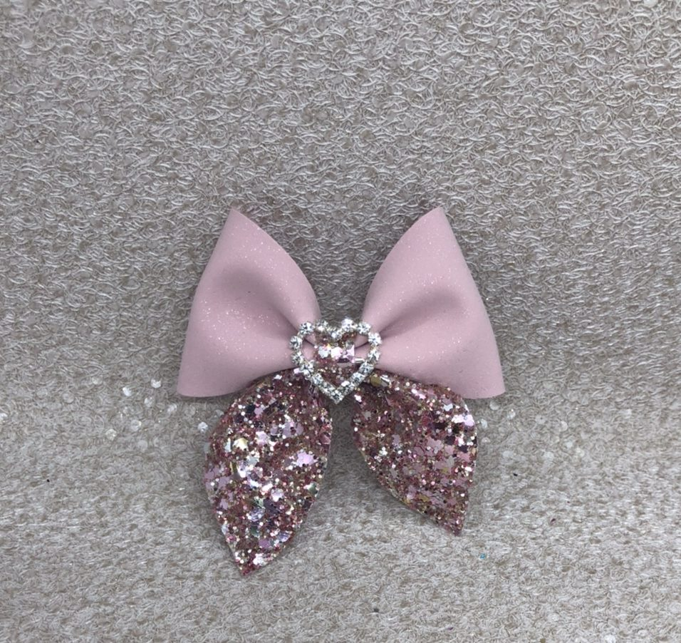Pink Glitter Suede Pinch Bow