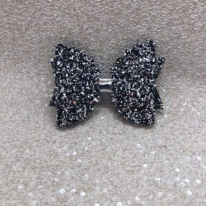 Black Glitter Large Scalloped Bow