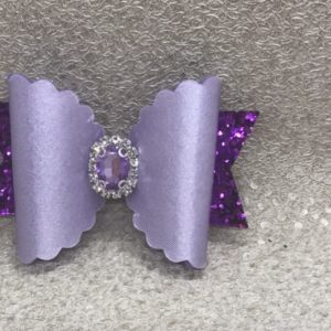 Purple Suede and Glitter Large Scalloped Bow