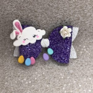 Purple Easter Bunny Large Bow
