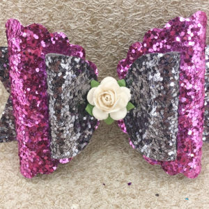 Purple and Dark Grey Large Scalloped Bow