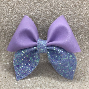 Purple Suede and Glitter Pinch Bow
