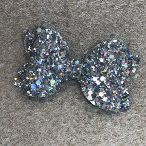 Silver Glitter Medium Bow