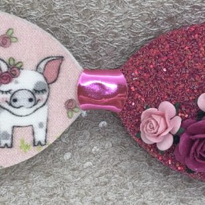 Pink Pig and Flowers Bow