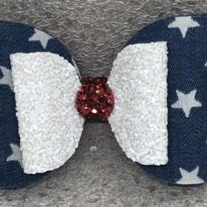 Red White Glitter and Stars Large Bow