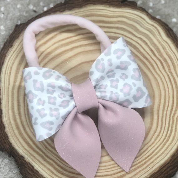 Leopard Print and Pink Pinch Headband