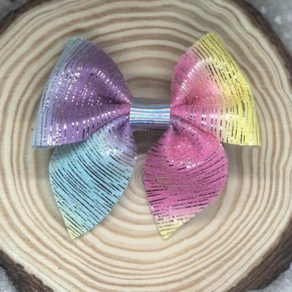 Rainbow Stripes Pinch Bow