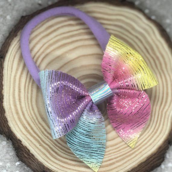 Rainbow Stripes Pinch Bow Headband