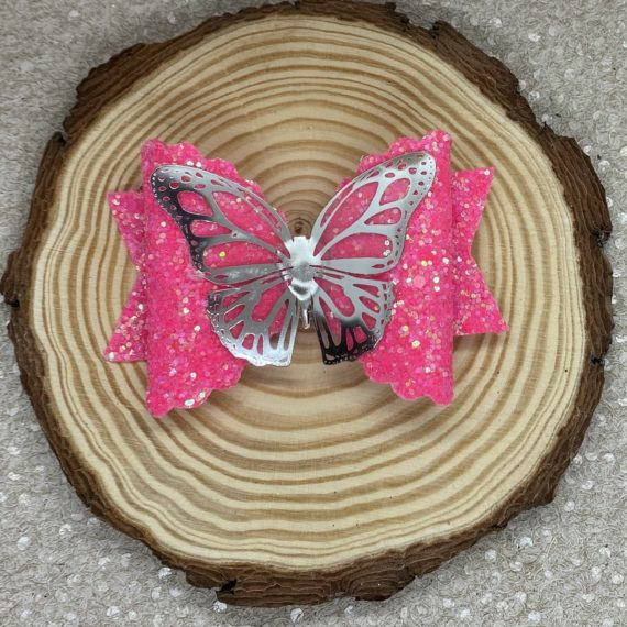 Pink Glitter and Butterfly Large Bow