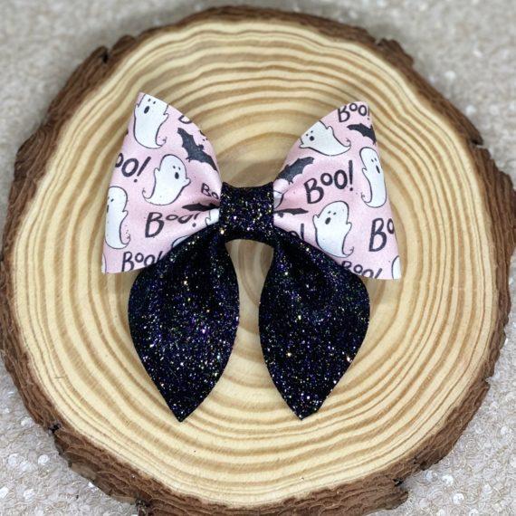 Boo Pink Halloween Bow