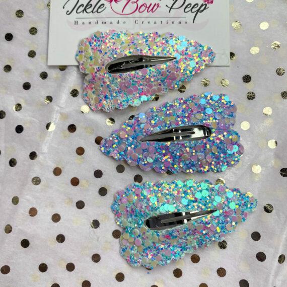 Three Glitter Snap Clips